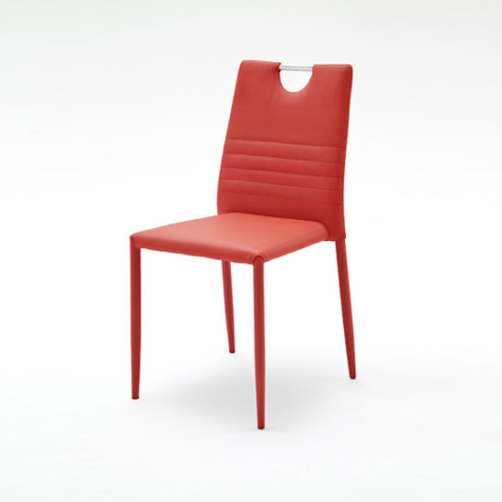 Meda Dining Chair In Red Tubular With PU Coated