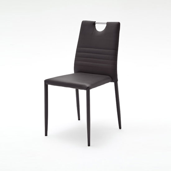 Meda Dining Chair In Black Tubular With PU Coated
