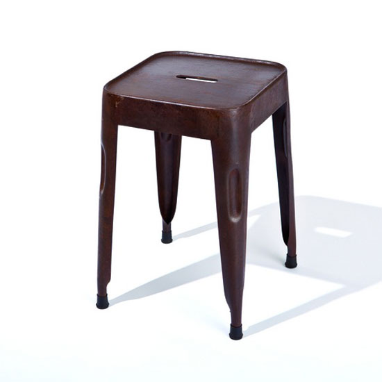 Photo of Melange stackable metal stool in rusty