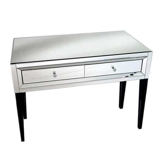 Marcus Console Table In Mirror Glass And Silver With Dark Feet