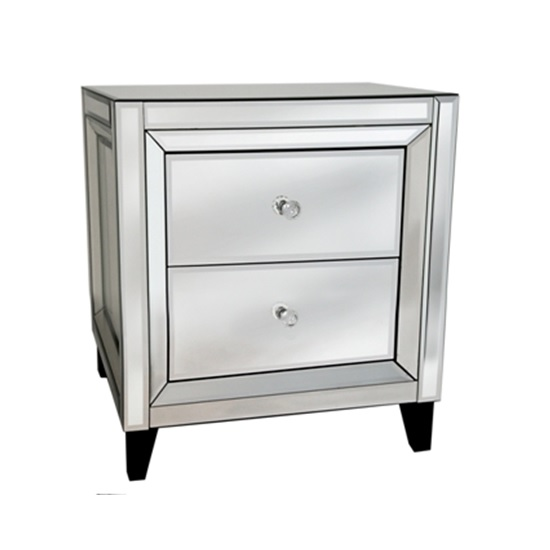 Marcus Bedside Table In Mirror Gl And Silver With 2 Drawers