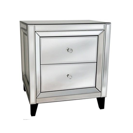 Marcus bedside table in mirror glass and silver with 2 for Mirror bedside cabinets