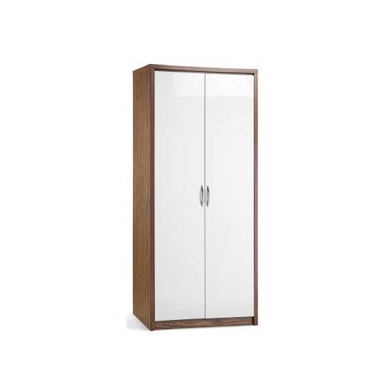Mylan Walnut Finish 2 Door Wardrobe With White High Gloss Fronts