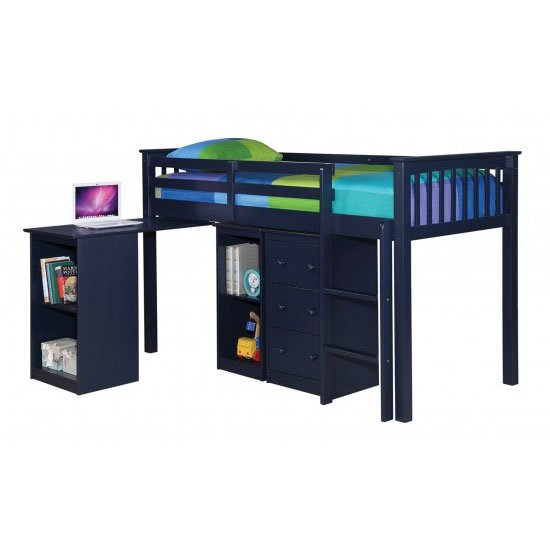 Milli Solid Navy Blue Finish Sleep Station With Pull Out Desk