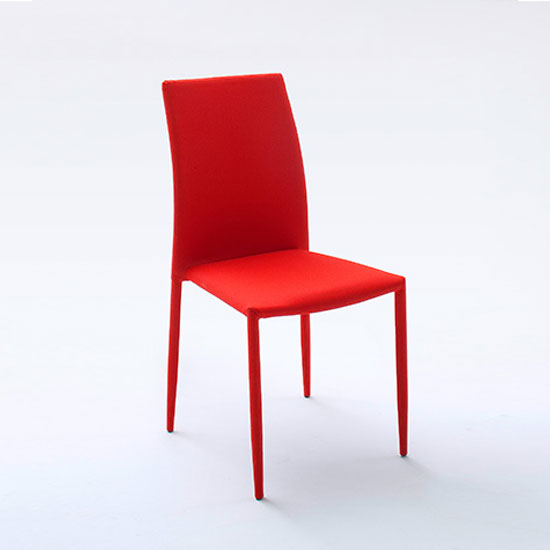 Mila upholstered red dining chair 21841 furniture in for Red and white upholstered chairs