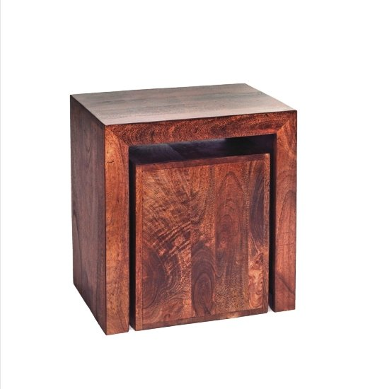 Mango Wood Cubed Nest of 2 Tables