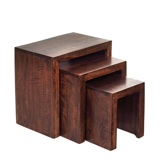 Mango wood nest of wooden nest of tables price comparison for Furniture in fashion