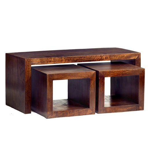 Mango Wood John Long Coffee Table With 2 Cube Stools 16993