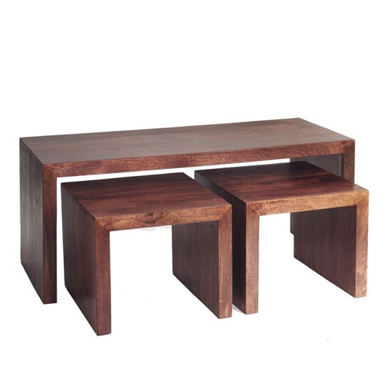 Mango Wood John Long Coffee Table with 2 Stools