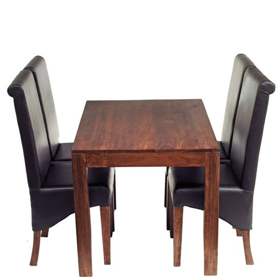 Mango Dining Set With 4 Leather Chairs