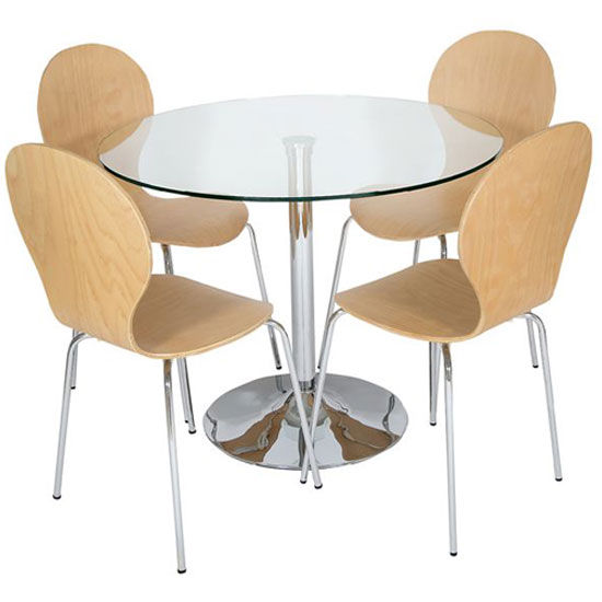 Roma Round Clear Glass Dining Table With 4 Beech Chairs