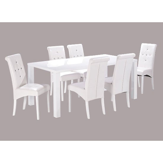 Morna White High Gloss Finish Large Dining Table Only