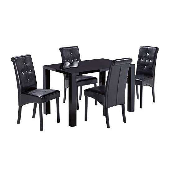 Morna Black High Gloss Finish Dining Table And 4 Chairs