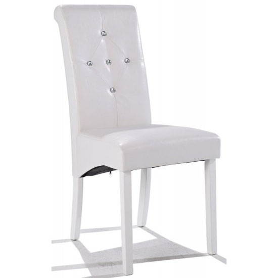 Morna White Faux Leather Dining Chair