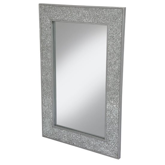 Clara wall mirror large rectangular in silver mosaic frame for Large silver wall mirror