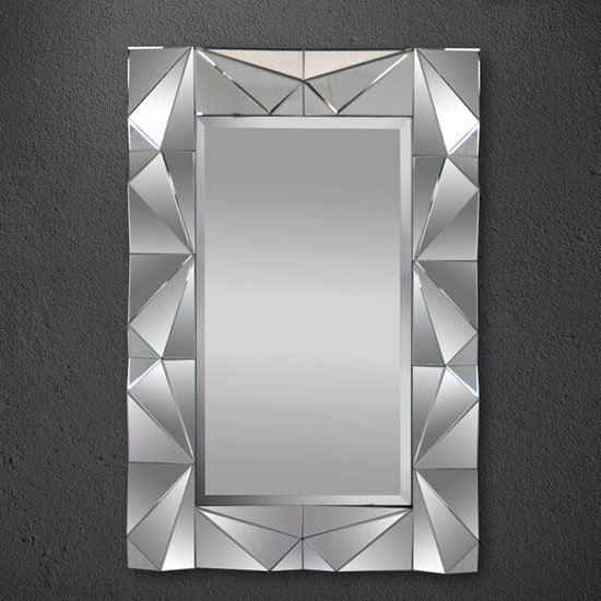 Ella Stylish Wall Mirror In Wood And Glass With Embossed OutLine
