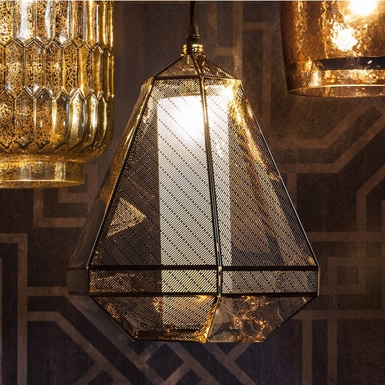 Madonna Glass Pendant Light In Bright Gold Plated