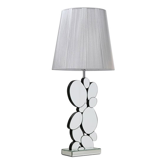 Rosie Table Lamp In Mirrored Panel With Black Shade