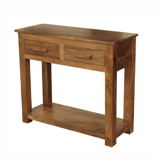 Merino wooden console table in mango wood with gloss touch
