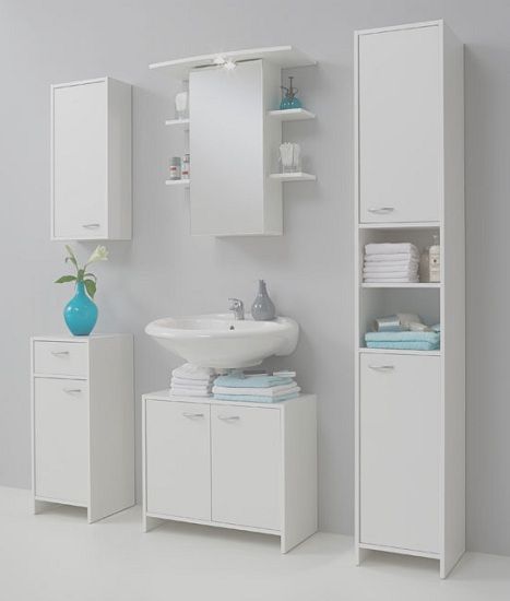 Madrid3 Bathroom High Cabinet In White With 2 Door