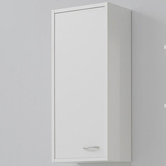 Photo of Madrid1 wall mount bathroom storage cabinet in white with 1 door