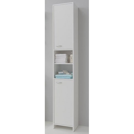 madrid3 bathroom high cabinet in white with 2 door 23364