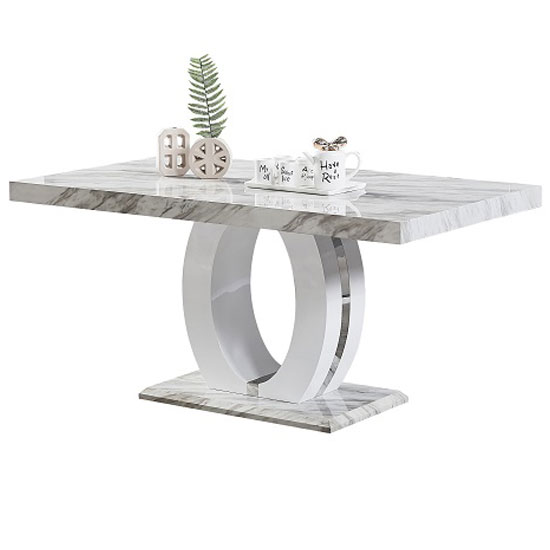 Magnesia Rectangular Grey Gloss Marble Effect Dining Table_1