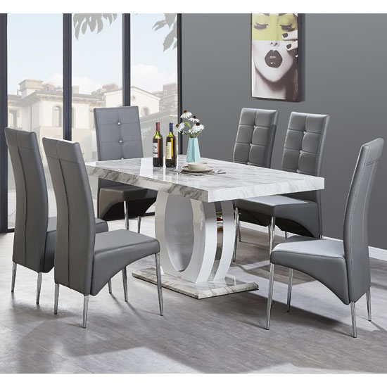 Magnesia Dining Table Gloss Marble Effect And 6 Vesta Grey Chair_1