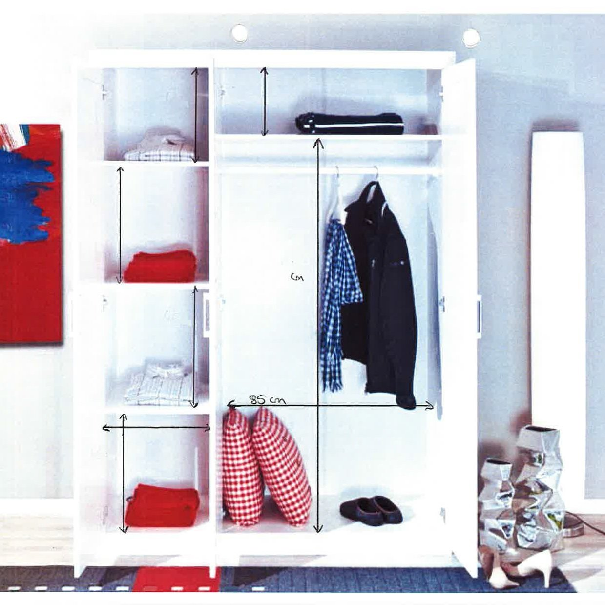 Magnus Pine Wooden Wardrobe In White With 3 Doors_2