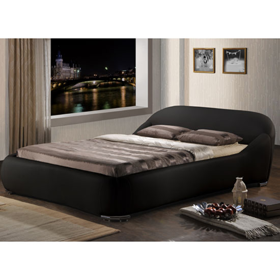 Manhattan Black Faux Leather Double Bed
