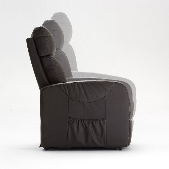Milano Recliner Chair In Brown PU Leather With Rise Function_3