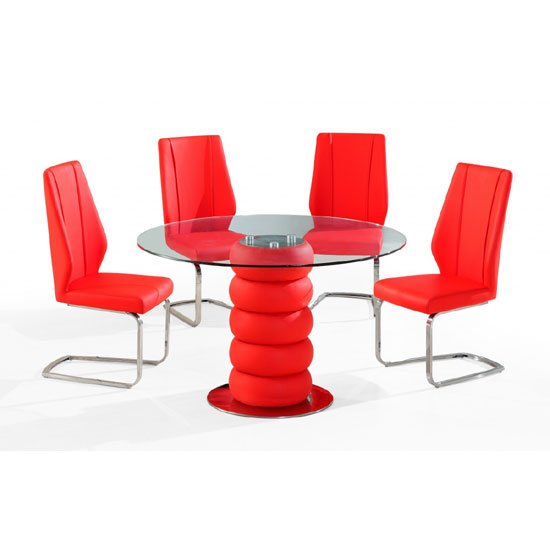 Maza Clear Glass Top Red Dining Table And 4 Dining Chairs