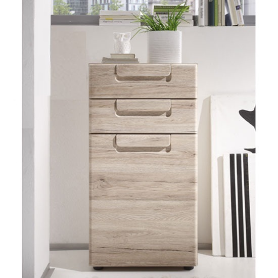Malea Oak Finish 2 Drawer Chest With 1 Door