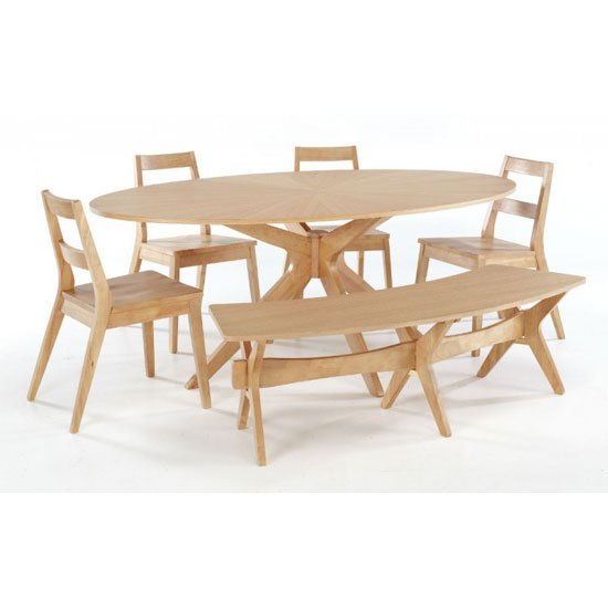 Malun White Oak Finish Dining Table With 4 Chairs And Bench