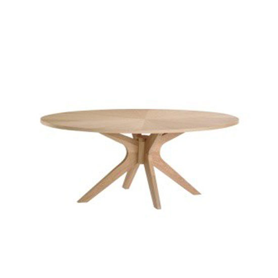 Malun White Oak Finish Oval Shape Coffee Table 22352