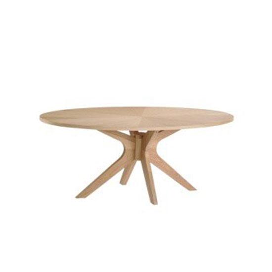 Malun White Oak Finish Oval Shape Coffee Table 22352