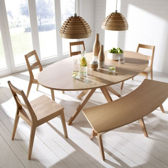 Contemporary Dining Table Chairs: Malun Contemporary White Oak Finish Oval Shape Dining