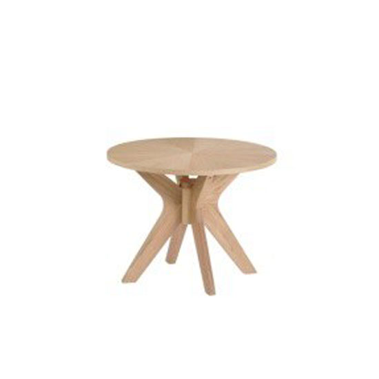Malun White Oak Finish Round Shape Side Table