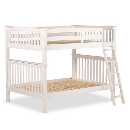 Malvern Wooden Small Double Bunk Bed In White_2