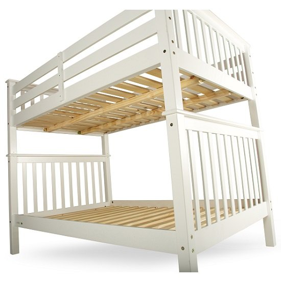 Malvern Wooden Small Double Bunk Bed In White 27447