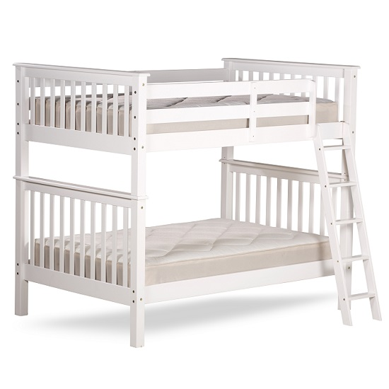 Malvern Wooden Small Double Bunk Bed In White_5