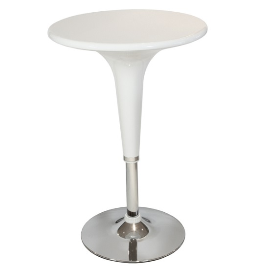 Coulter Bar Table Round In White ABS With Chrome Base