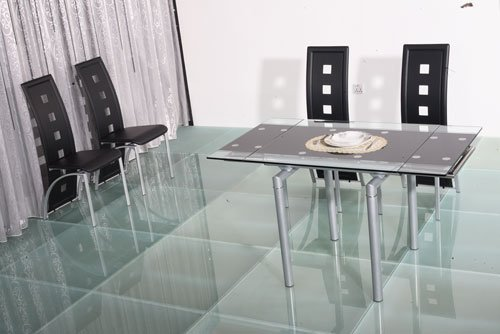 Mandy Extendable Glass Dining Table Set with 4 Dining Chairs