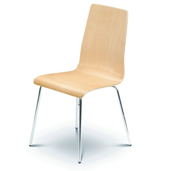 Mandy Dining Chair In Maple With Chrome Legs