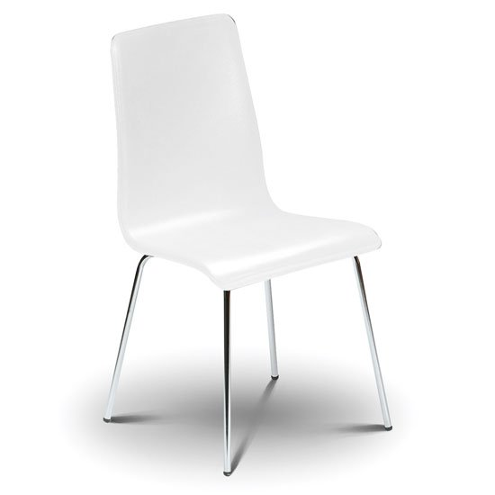 Mandy Dining Chair In White With Chrome Legs