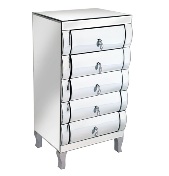 Zion 5 Drawer Chest In Curved Mirror With Silver Legs
