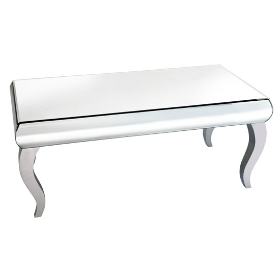 Zion coffee table rectangular in curved mirror with silver for Mirrored rectangular coffee table