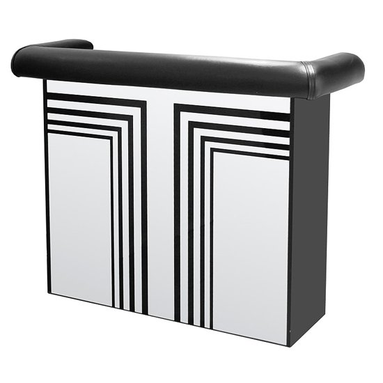 View Manhattan mirrored bar table with faux leather arm rest