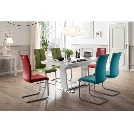 Enlarge White Gloss Dining Table And Coloured Chairs W Wall Decal