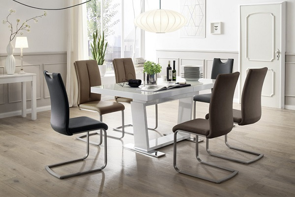 Manhattan Glass Dining Table In High Gloss With 8 Paulo Chairs_4